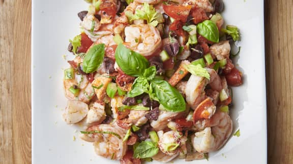Salade de homard et de crevettes