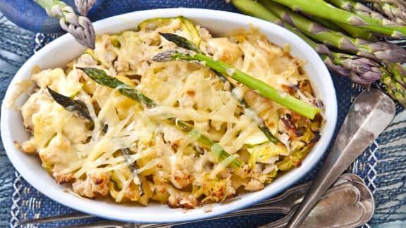 Macaroni au fromage, aux asperges et aux shiitakes