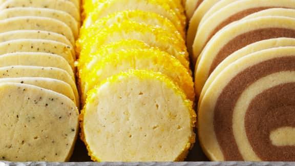 trio de biscuits au citron, au thé Earl Grey et au chocolat