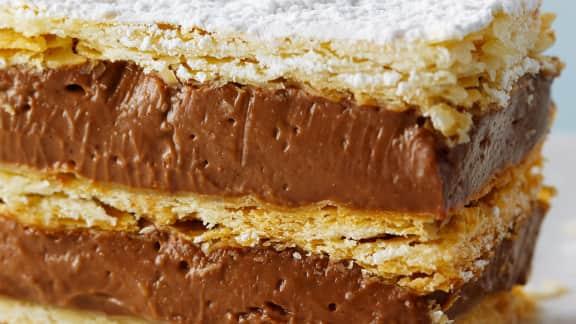 mille-feuilles au chocolat et à la noisette