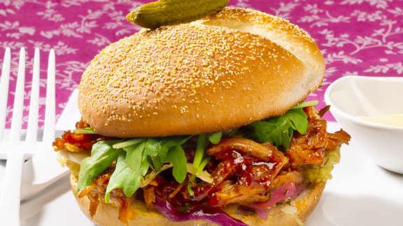 burgers de porc effiloché BBQ