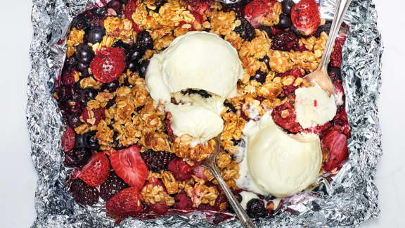 crumble de petits fruits en papillote