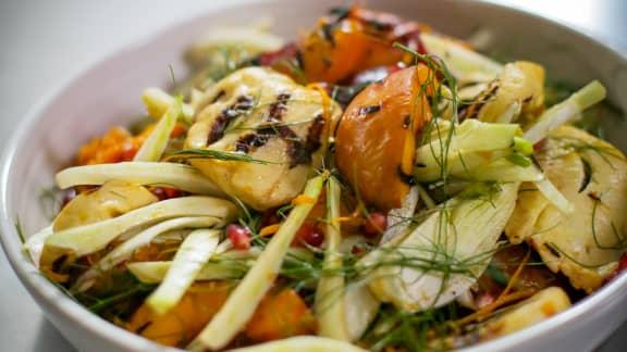 Jeudi : Salade de halloumi et nectarines grillées