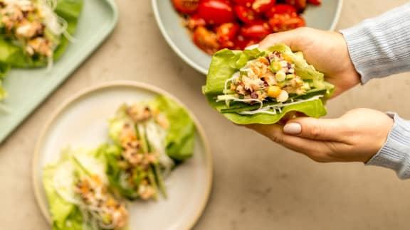 Mercredi : Wraps de laitue au saumon