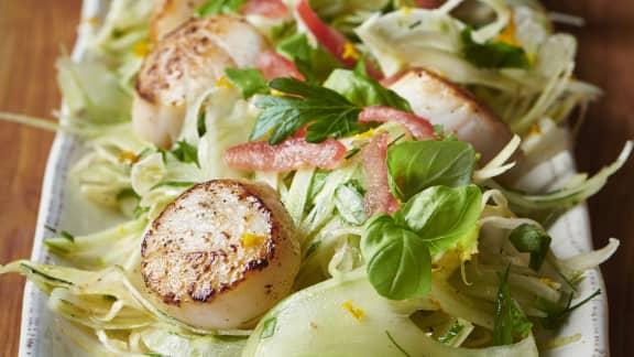 Pétoncles poêlés avec salade de pommes de fenouil