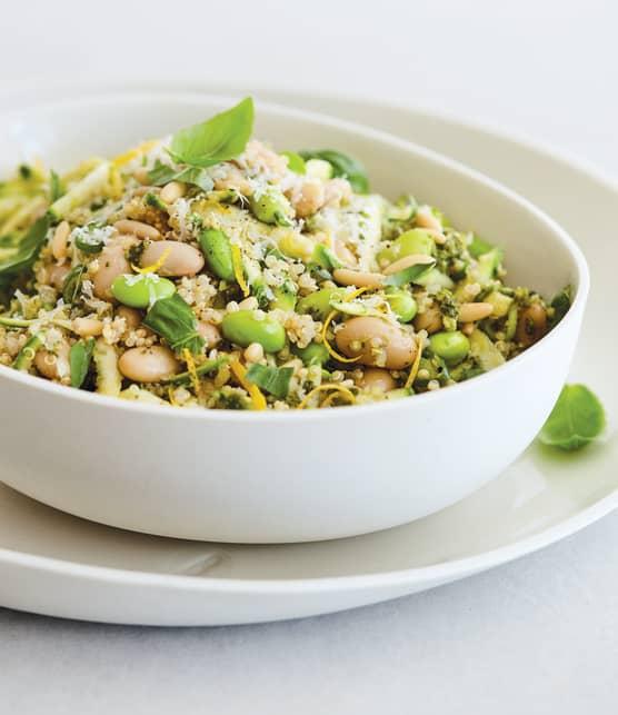 Quinoa aux haricots blancs, aux edamames et au pesto