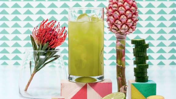 Agua fresca à l'ananas, aux concombres et au gingembre