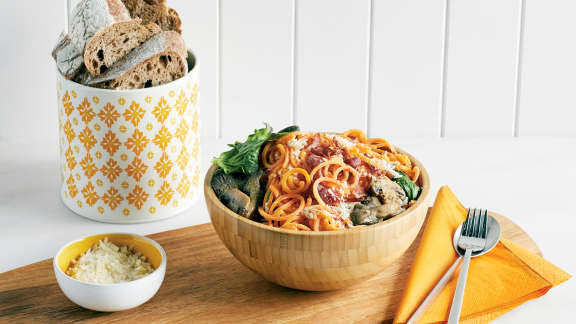 Mardi : Carbonara de patates douces aux champignons et épinards