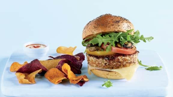 Hamburger santé au poulet, estragon et champignons