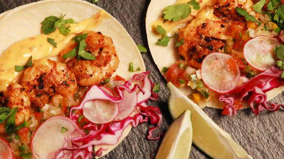 Vendredi : Tacos aux crevettes cajuns grillées sur le BBQ