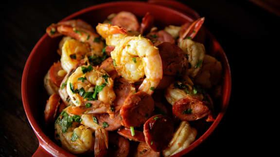 crevettes sautées au chorizo piquant