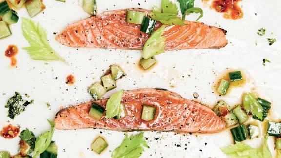 Gravlax de saumon façon tataki
