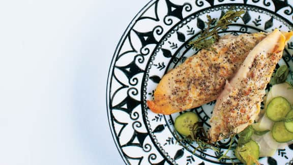 Tilapia en croûte de chia et de parmesan
