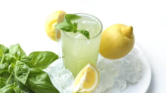 Limonade pétillante au citron et basilic