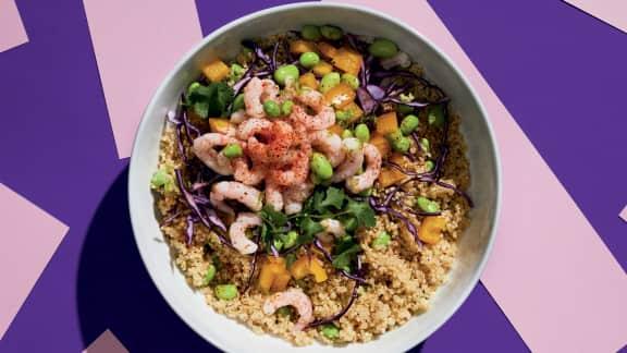 Quinoa aux crevettes et aux edamames