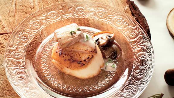 Pétoncles au foie gras et sa sauce aux marrons