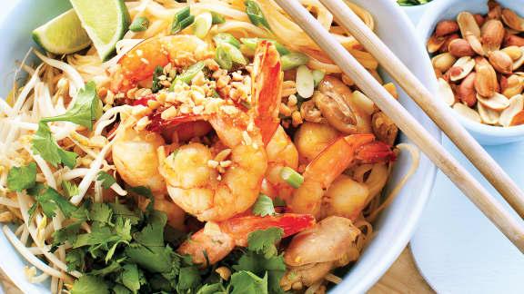 Pad thaï aux crevettes et au poulet