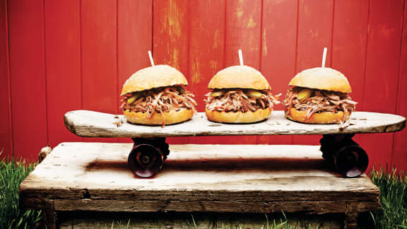 Burgers de porc à l'effiloché de la Caroline