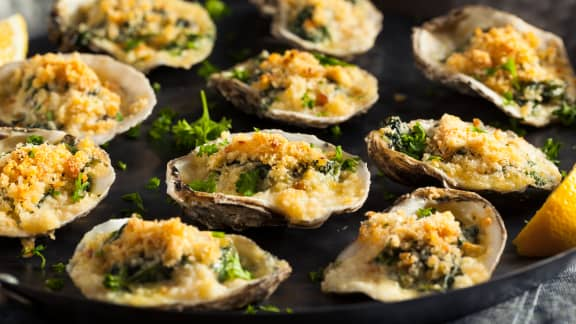 Huîtres et tartinade d'épinard gratinées façon Rockefeller