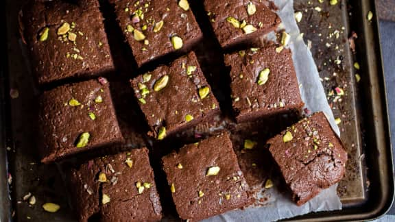 Brownie aux pistaches et canneberges