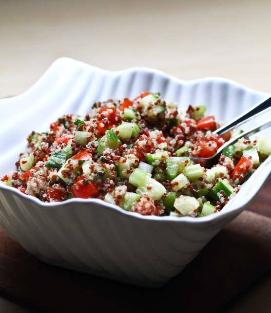 Salade de quinoa deux couleurs au cumin et à la ciboulette