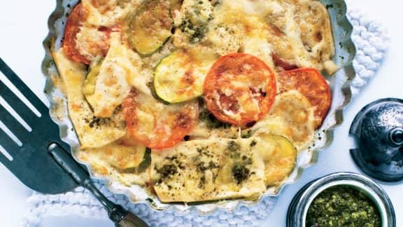 Casserole de tofu et de légumes au fromage gratiné
