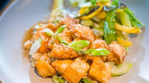 Poulet général Tao mi-tofu