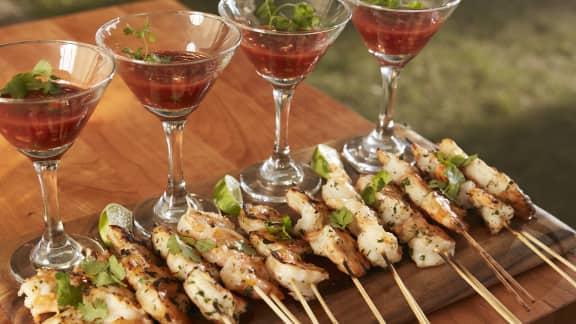 cocktail de crevettes, sauce orange et chipotle