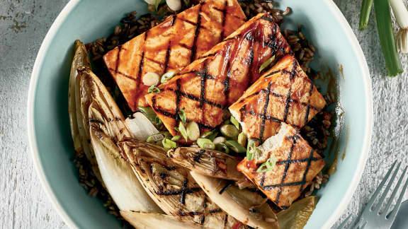Mardi : Tofu sauce barbecue aux endives grillées