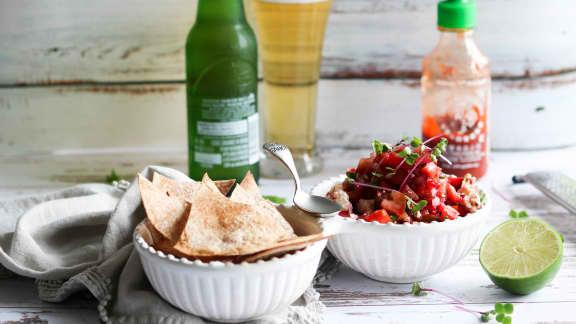 Salsa de fraises, basilic & Feta