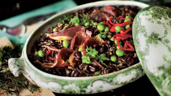 Salade de riz et canard fumé