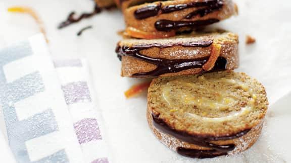Gâteau roulé pistaches et orange