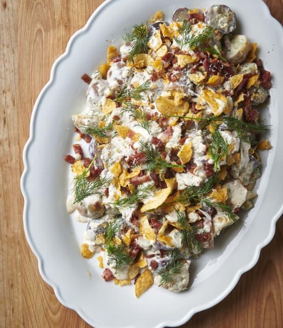 Salade de grelots colorés, crème d'aneth et bacon