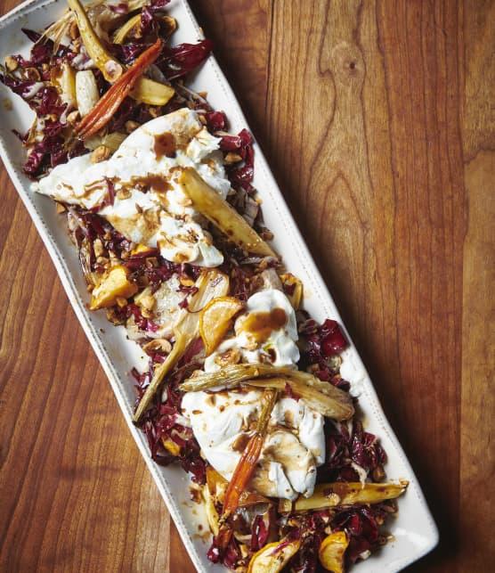 Burrata avec légumes rôtis