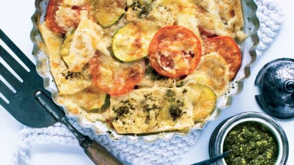 Casserole de tofu et légumes au fromage gratiné