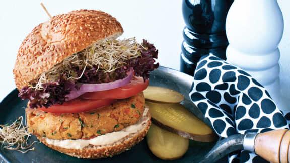 Hamburger de pois chiches sauce tahini