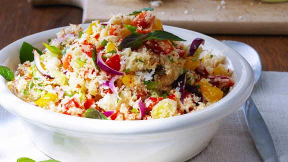 Salade tiède de coucous perlé aux choux-fleurs rôtis