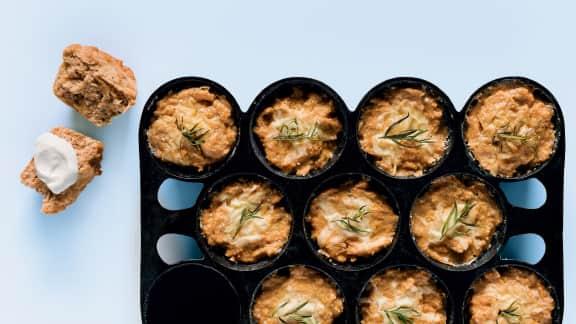 Muffins minute au saumon et à l'estragon