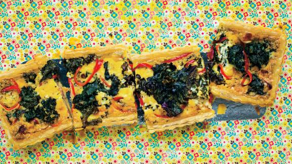 Quiche gourmande au kale et à la pancetta