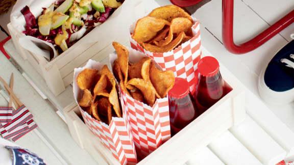 Chips de pommes de terres frites au romarin