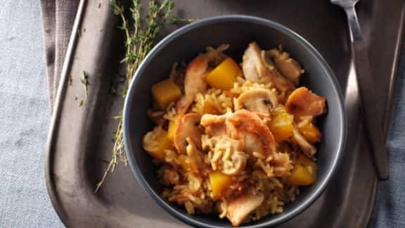 Poulet et courge musquée avec riz