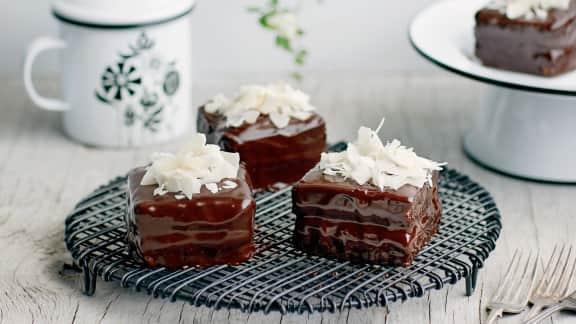 Lamingtons au chocolat noir