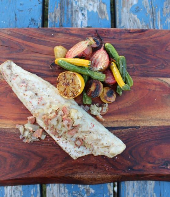 Filets de doré grillés, papillotes de légumes et tombée d'oignons à la rosette de Lyon