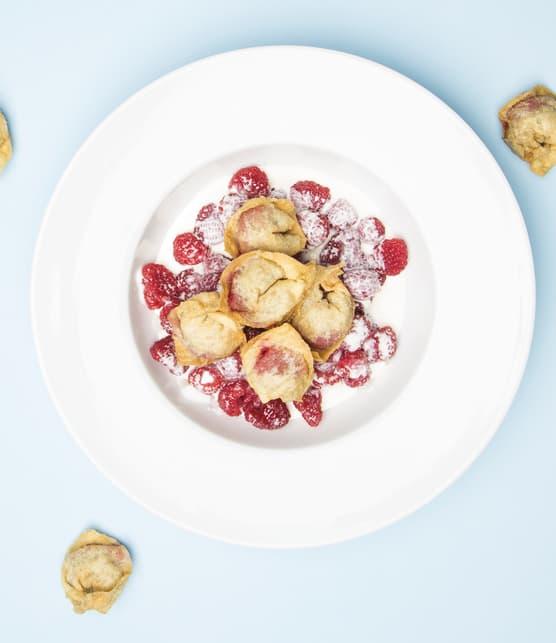 Dumplings à la tarte au sucre et aux framboises