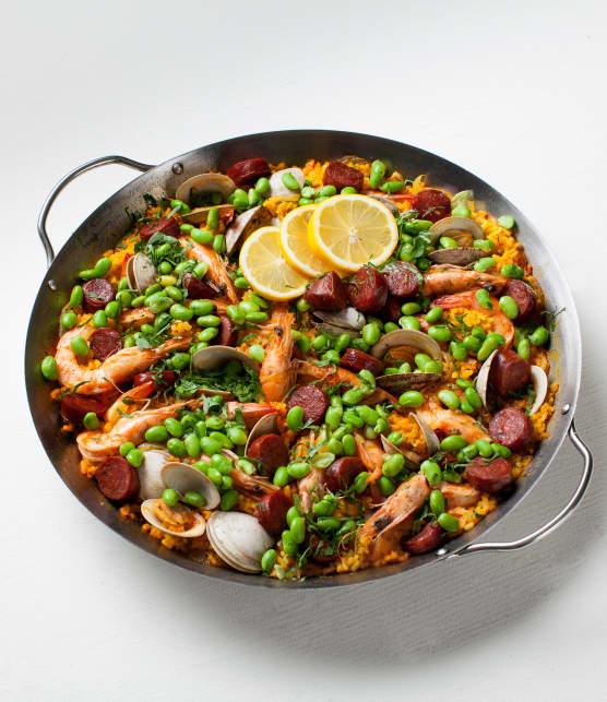 Recette de paella aux palourdes et au chorizo