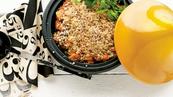 Parmentier de couscous israélien et cari de carottes