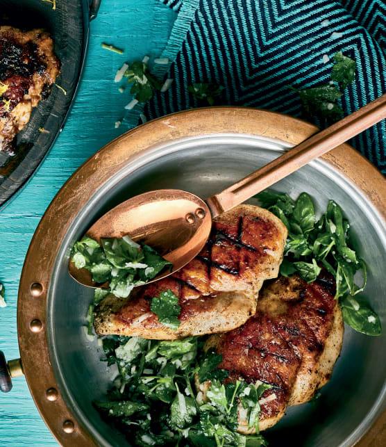 Duo de hauts de cuisse et poitrines de poulet aux herbettes