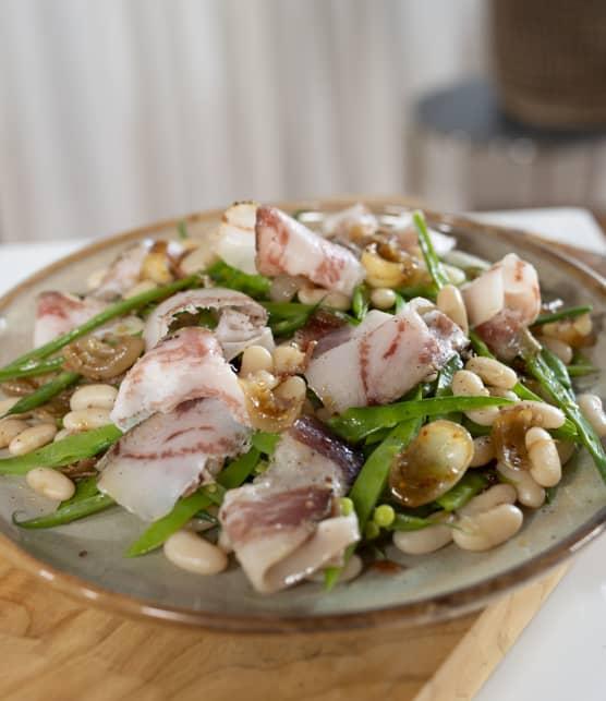 Haricots variés, vinaigrette aux cipollinis, gianciale et prosciutto