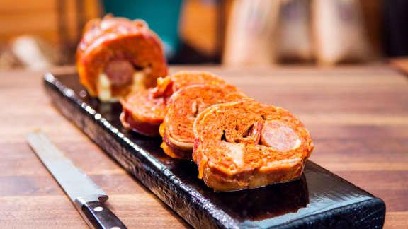 Roulade de saucisses au bacon et fromage à l'italienne