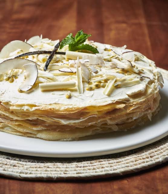 Gâteau mille-crêpes aux fruits de la passion